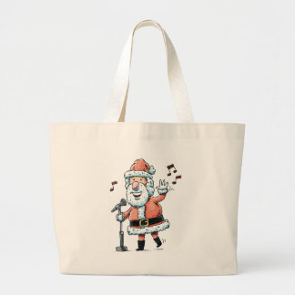 Singing Santa Claus Large Tote Bag