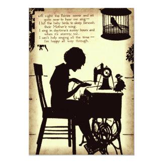 Singing Sewing Lady Vintage Fairy Poem Card
