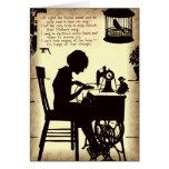 Singing Sewing Lady Vintage Fairy Poem Greeting Card