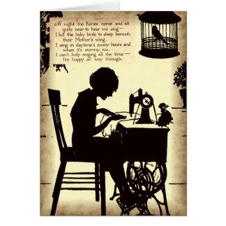 Singing Sewing Lady Vintage Fairy Poem Cards