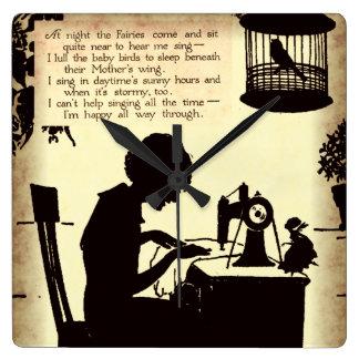 Singing Sewing Lady Vintage Fairy Poem Wallclocks