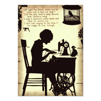 Singing Sewing Lady Vintage Fairy Poem 5x7 Paper Invitation Card