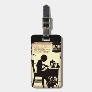 Singing Sewing Lady Vintage Fairy Poem Luggage Tag