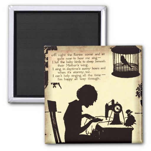 Singing Sewing Lady Vintage Fairy Poem 2 Inch Square Magnet