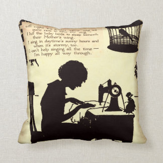 Singing Sewing Lady Vintage Fairy Poem Throw Pillows