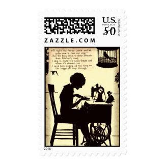 Singing Sewing Lady Vintage Fairy Poem Postage