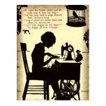 Singing Sewing Lady Vintage Fairy Poem Postcard