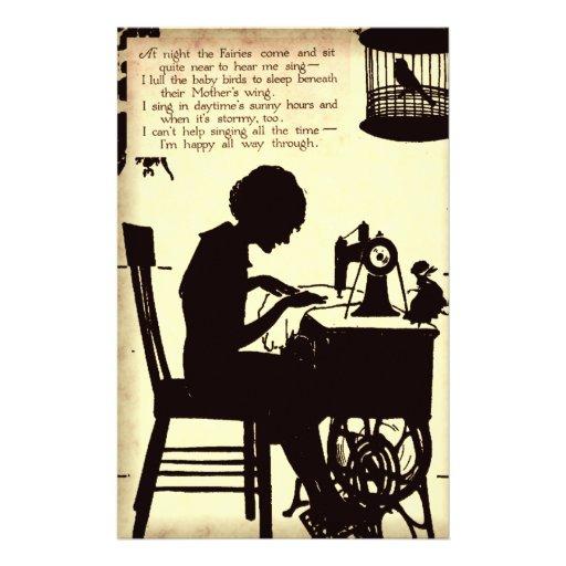 Singing Sewing Lady Vintage Fairy Poem Customized Stationery