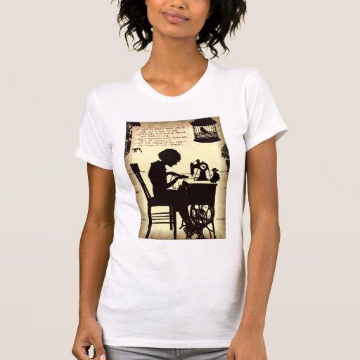 Singing Sewing Lady Vintage Fairy Poem T-shirt
