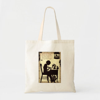 Singing Sewing Lady Vintage Fairy Poem Tote Bag