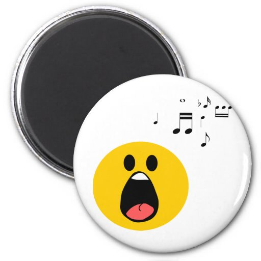 Singing smiley 2 inch round magnet