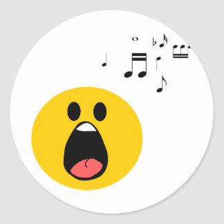 Singing smiley classic round sticker