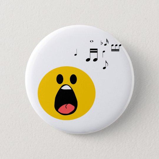 Singing smiley pinback button
