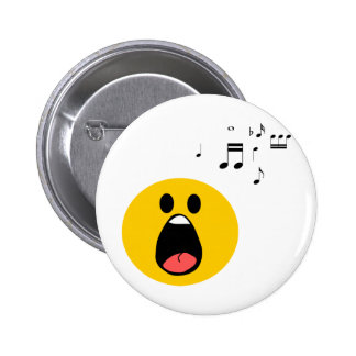 Singing smiley pinback buttons