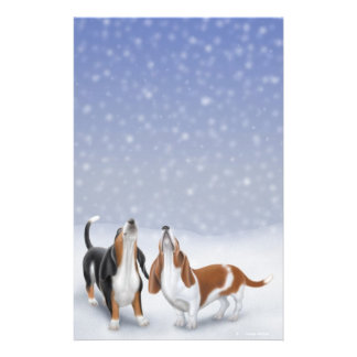Singing Snow Bassets Stationery