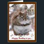 """Singing Squirrel Birthday Card<br><div class=""""desc"""">This birthday card features a portrait of an adorable red squirrel with brown and white fur in the fluffy snow singing Happy Birthday to You.  The text can be customized to suit your needs.  You may want to replace &quot;you&quot; with a special name!</div>"""