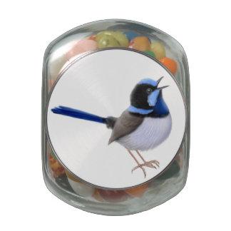 Singing Superb Fairy Wren Candy Jar Glass Jars