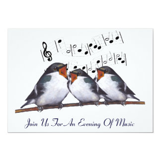 Singing Swallows: Birds: Music Event Invitation