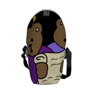 Singing Teddy Bear Angels in Purple Robes Courier Bag