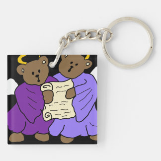 Singing Teddy Bear Angels in Purple Robes Keychain