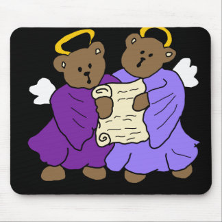 Singing Teddy Bear Angels in Purple Robes Mouse Pad