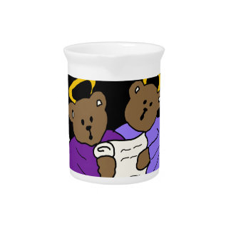Singing Teddy Bear Angels in Purple Robes Pitcher