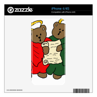 Singing Teddy Bear Angels is Red and Green Robes iPhone 4S Decal
