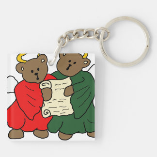 Singing Teddy Bear Angels is Red and Green Robes Keychain