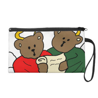 Singing Teddy Bear Angels is Red and Green Robes Wristlet