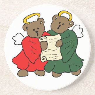 Singing Teddy Bear Angels Sandstone Coaster