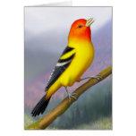 Singing Western Tanager Bird Card
