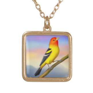 Singing Western Tanager Bird Necklace