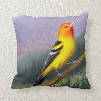 Singing Western Tanager Bird Pillows