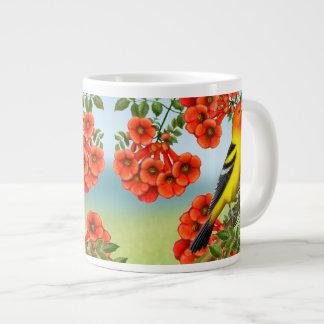 Singing Western Tanager in Floral Vines  Mug