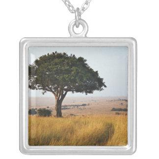Single acacia tree on grassy plains, Masai Mara, Square Pendant Necklace