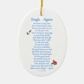 Single Again Double-Sided Oval Ceramic Christmas Ornament