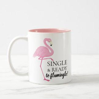 Single And Ready To Flamingle Pink Flamingo Two-Tone Coffee Mug