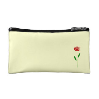 Single Art Deco Red Rose Green Leaves and Stem Makeup Bag
