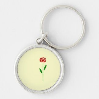 Single Art Deco Red Rose Green Leaves and Stem Keychain