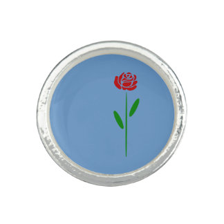 Single Art Deco Red Rose Green Leaves and Stem Photo Rings