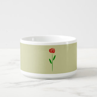 Single Art Deco Red Rose Green Leaves and Stem Chili Bowl