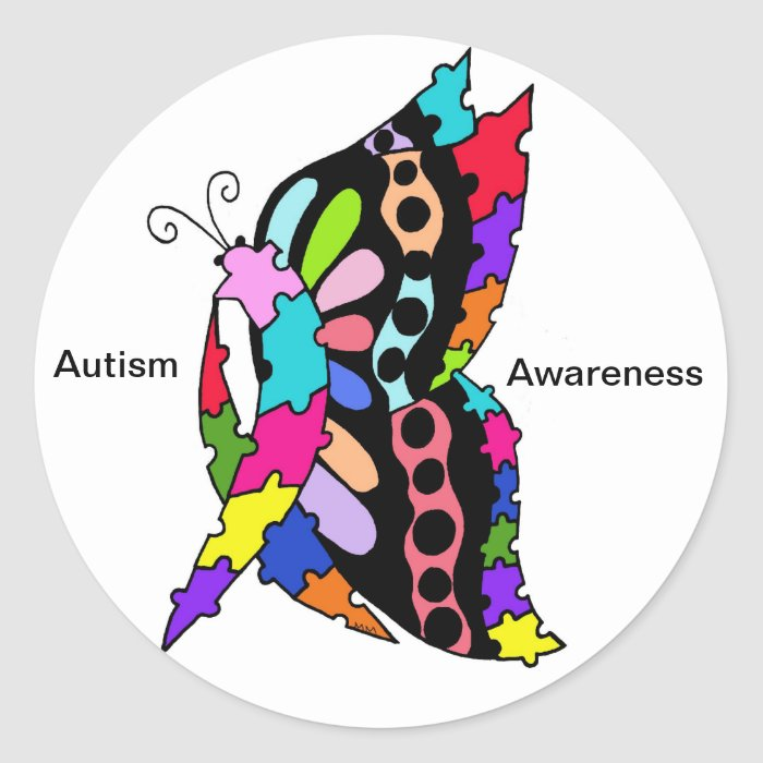 Single Autism Awareness Butterfly  Stickers