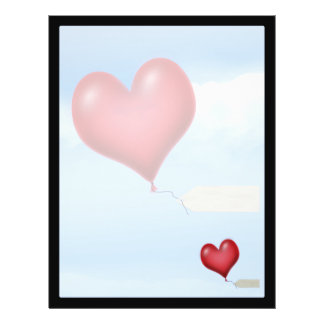 """Single Balloon Heart With Message Tag 8.5"""" X 11"""" Flyer"""