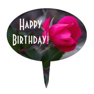 Single Bending Pink Rose Photograph Cake Topper
