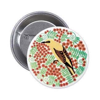 Single Bird and Flowers Pinback Buttons