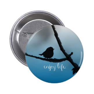 Single Bird on Branch with Enjoy Life Quote Pins