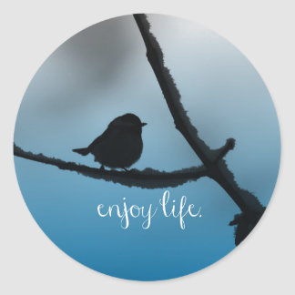 Single Bird on Branch with Enjoy Life Quote Classic Round Sticker