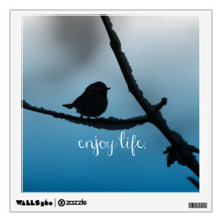 Single Bird on Branch with Enjoy Life Quote Wall Sticker