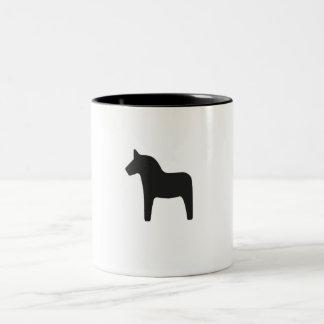 Single Black Dala Horse Two-Tone Coffee Mug
