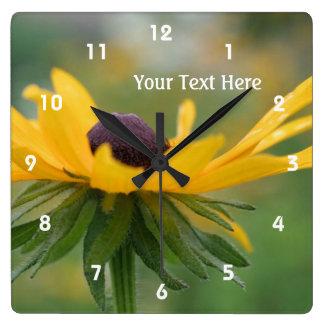 Single Black Eyed Susan Daisy Flower Square Wall Clock